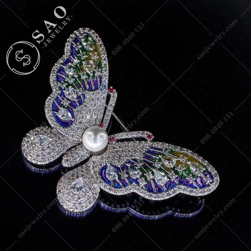 GHIM CÀI ÁO VEST NỮ bướm đa sắc bạc 925 sang trọng