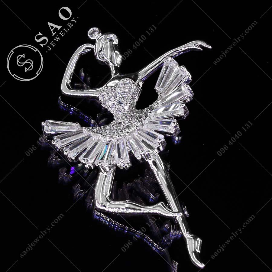 GHIM CÀI ÁO VEST NỮ bạc 925 diễn viên múa đính pha lê cao cấp