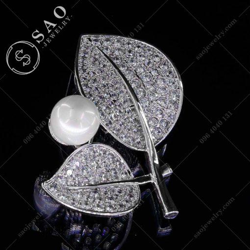 GHIM CÀI ÁO VEST NỮ đôi lá bạc 925 cao cấp