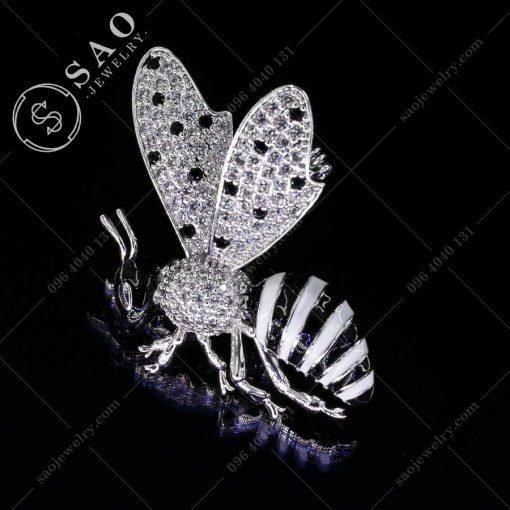 GHIM CÀI ÁO VEST NỮ ong trắng bạc 925 hàn quốc