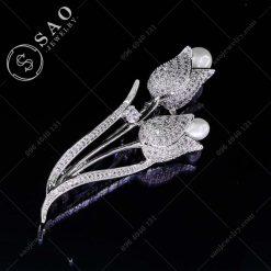 HOA CÀI ÁO bạc 925 đôi Tulip đính hạt ngọc sang trọng