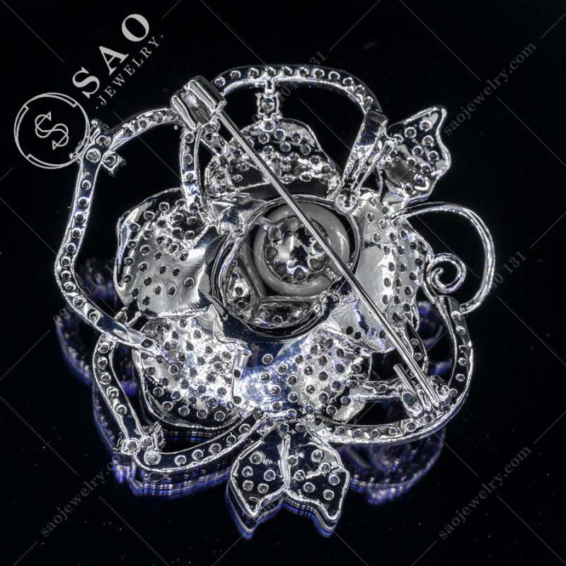 HOA CÀI ÁO hồng khoe sắc bạc 925 đính hạt ngọc sang trọng