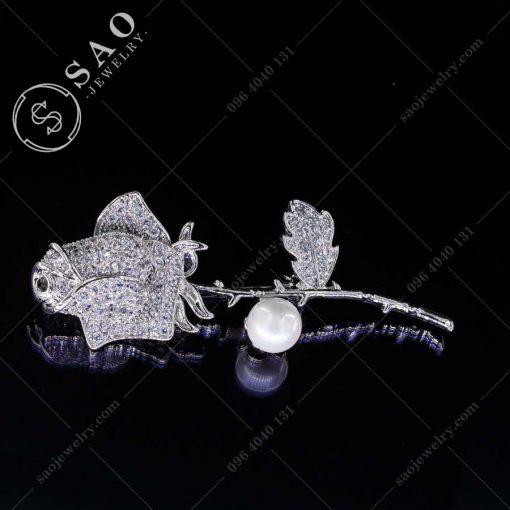 HOA CÀI ÁO hồng xinh bạc 925 thời trang