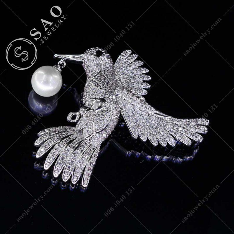 PHỤ KIỆN CÀI ÁO NỮ bạc 925 chim bồ câu sang trọng