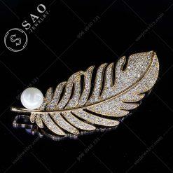 PHỤ KIỆN CÀI ÁO NỮ chiếc lá mạ vàng cao cấp