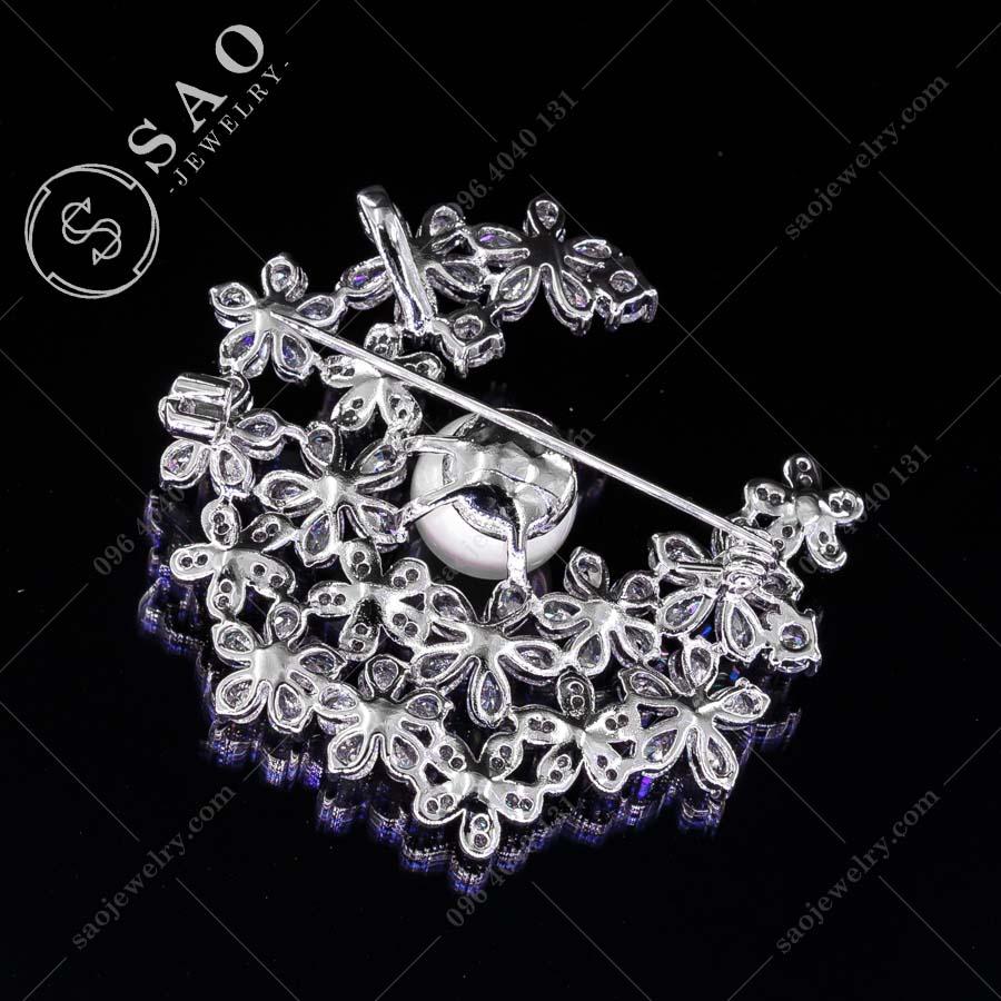 GHIM CÀI ÁO VEST NỮ bạc 925 dải hoa pha lê sang trọng