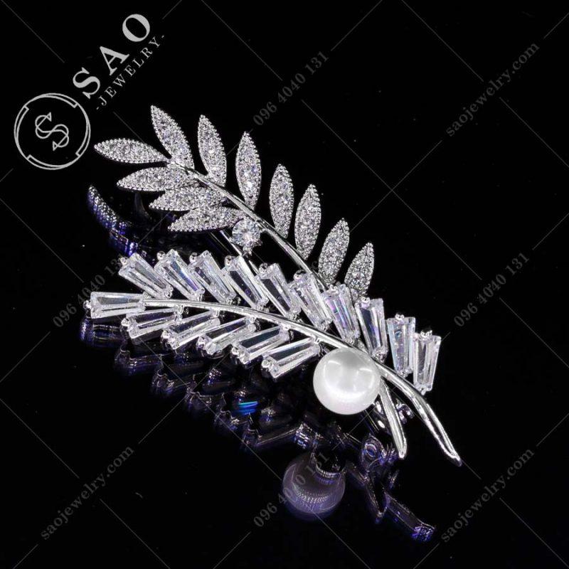 PHỤ KIỆN CÀI ÁO NỮ nhành lá pha lê bạc 925 cao cấp