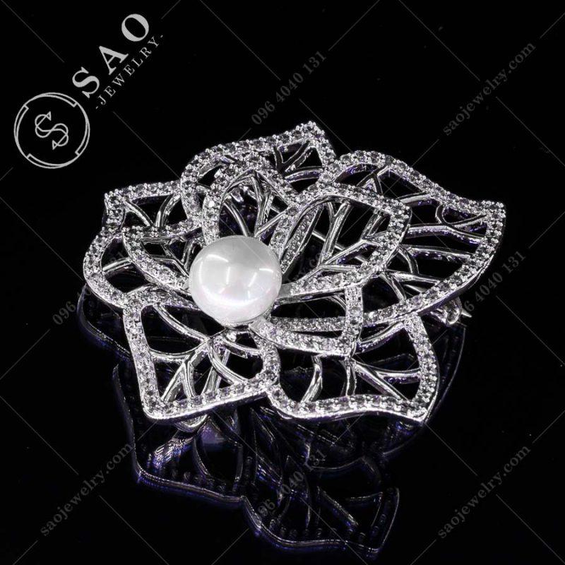 PHỤ KIỆN CÀI ÁO NỮ lá bạc 925 thời trang