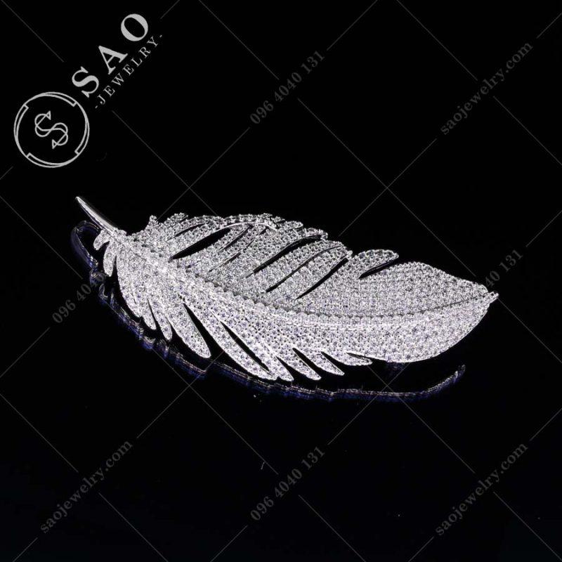 GHIM CÀI ÁO VEST NỮ lông vũ bạc 925 hàn quốc