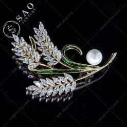 PHỤ KIỆN CÀI ÁO NỮ nhành lúa mạ vàng đính pha lê sang trọng