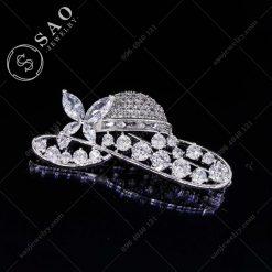 PHỤ KIỆN CÀI ÁO NỮ bạc 925 chiếc nón pha lê cao cấp