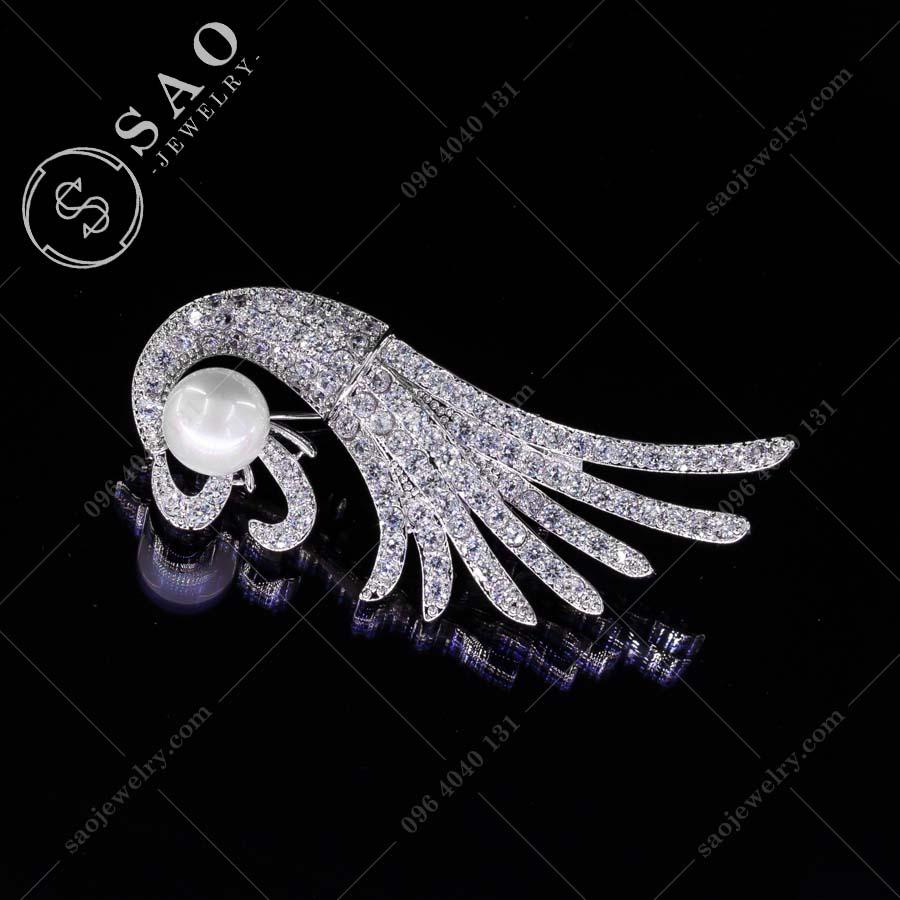 GHIM CÀI ÁO VEST NỮ bạc 925 phượng hoàng lửa sang trọng