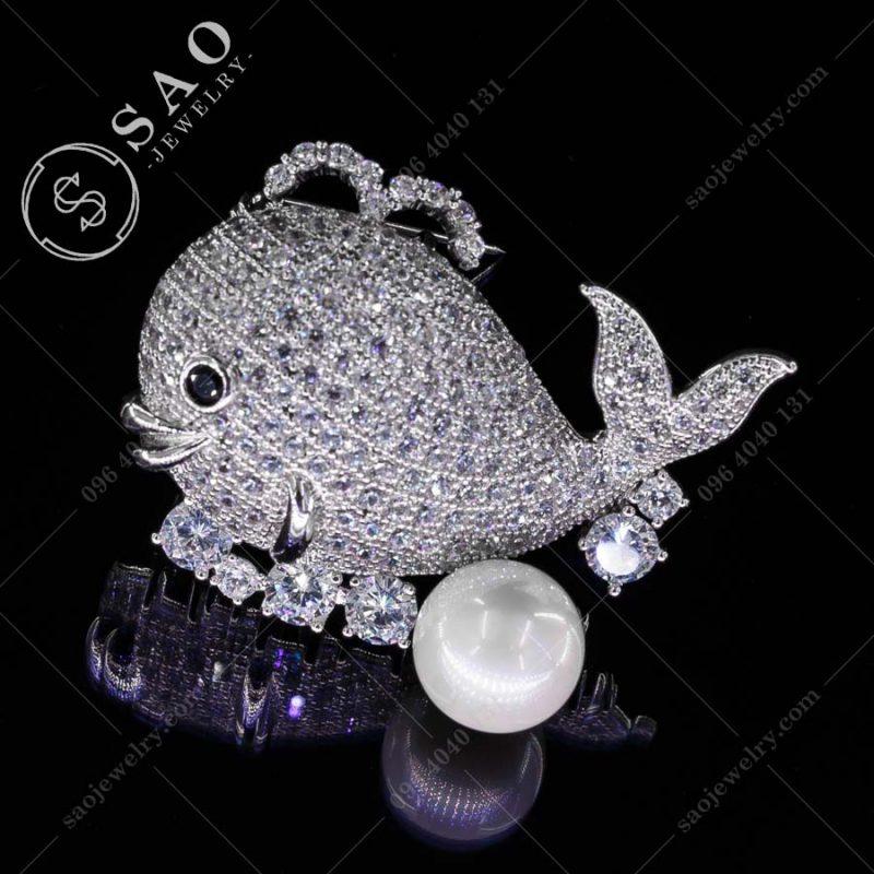 PHỤ KIỆN CÀI ÁO cá voi bạc 925 cao cấp
