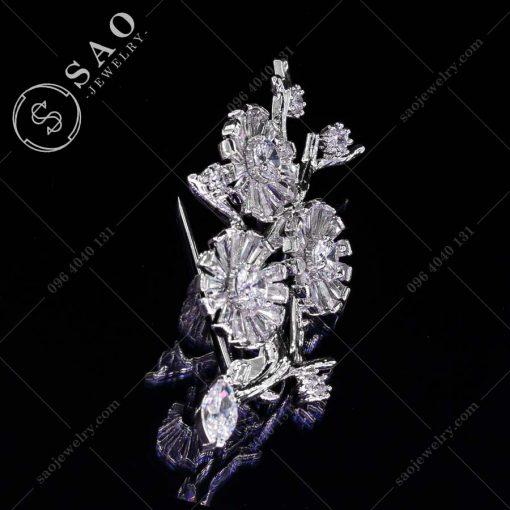 PHỤ KIỆN CÀI ÁO bạc 925 cành hoa pha lê sang trọng