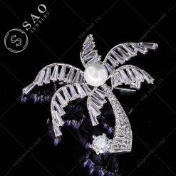 PHỤ KIỆN CÀI ÁO bạc 925 cây dừa pha lê cao cấp