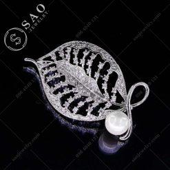 PHỤ KIỆN CÀI ÁO bạc 925 chiếc lá đính ngọc trai sang trọng