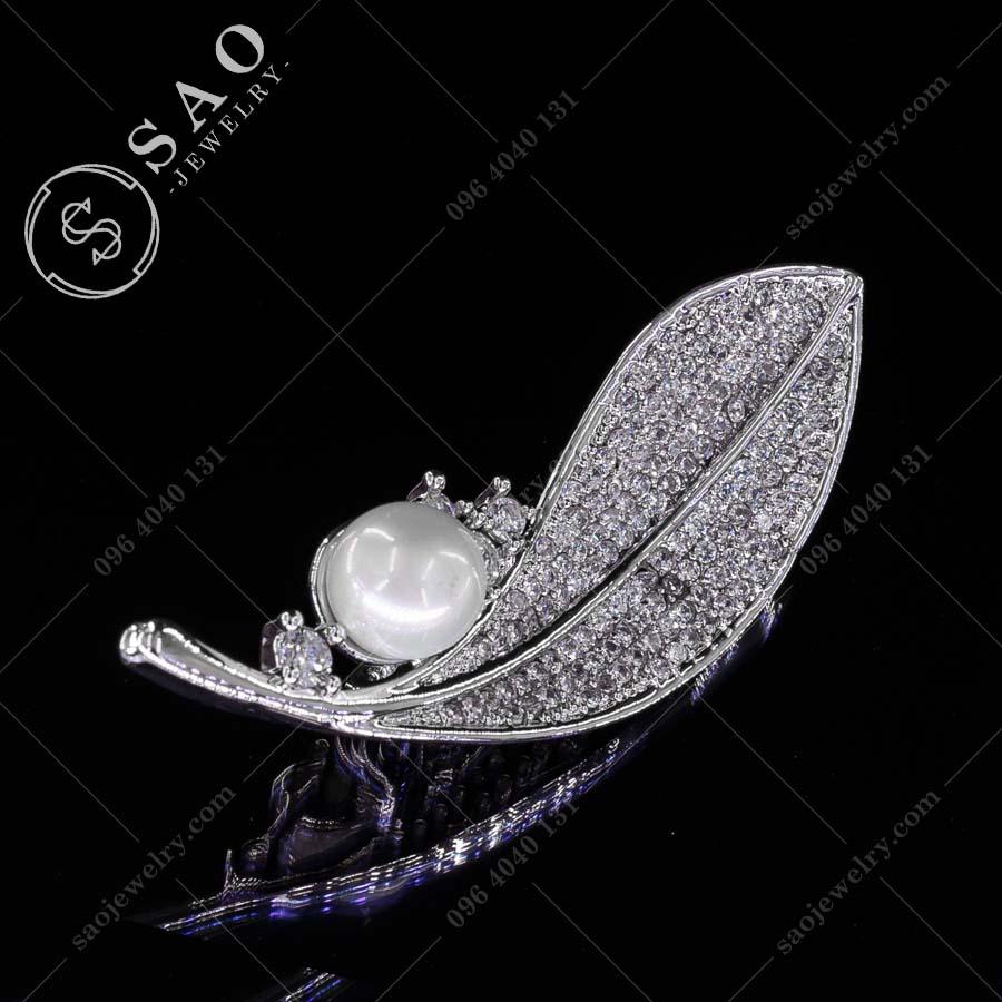 PHỤ KIỆN CÀI ÁO chiếc lá bạc 925 thời trang