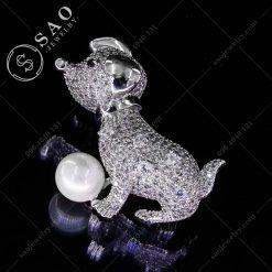 PHỤ KIỆN CÀI ÁO chó con bạc 925 cao cấp