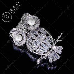 PHỤ KIỆN CÀI ÁO bạc 925 chim cú pha lê cao cấp