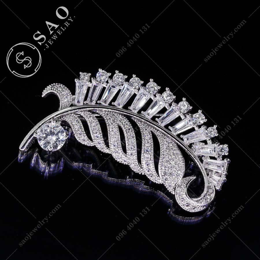 PHỤ KIỆN CÀI ÁO bạc 925 chiếc lá pha lê cao cấp