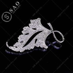 PHỤ KIỆN CÀI ÁO lá bạc 925 thời trang