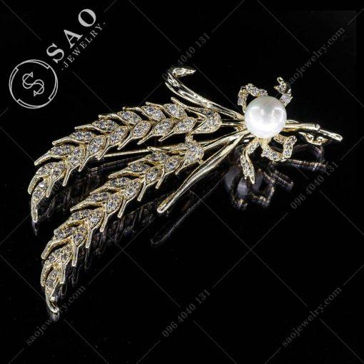 PHỤ KIỆN CÀI ÁO nhành lua mạ vàng đính hạt ngọc cao cấp