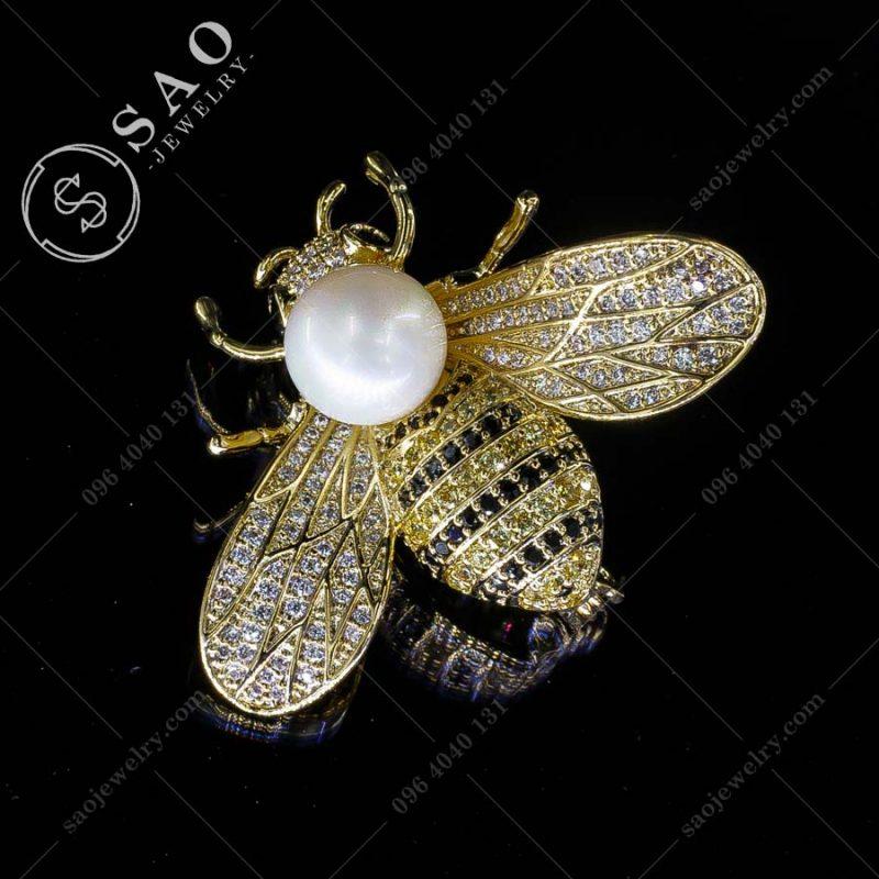 PHỤ KIỆN CÀI ÁO ong mạ vàng đính ngọc trai sang trọng
