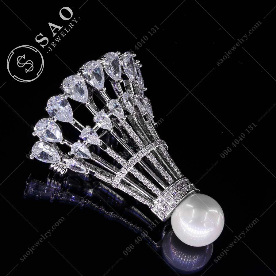 PHỤ KIỆN CÀI ÁO quả cầu lông bạc 925 pha lê cao cấp