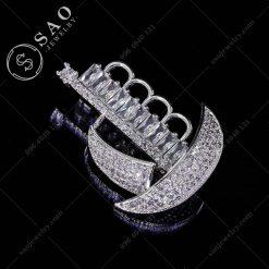 PHỤ KIỆN CÀI ÁO chiếc thuyền pha lê bạc 925 cao cấp