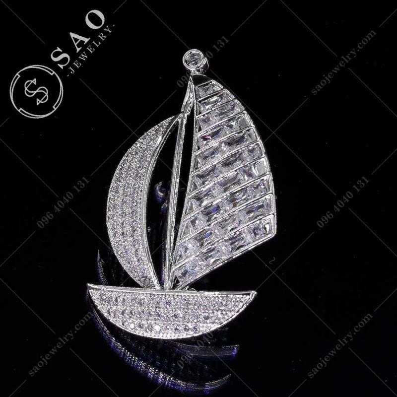 PHỤ KIỆN CÀI ÁO chiếc thuyền bạc 925 sang trọng
