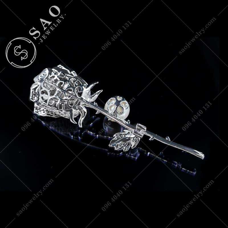 Bông hồng cài áo bạc 925 cao cấp CA356T