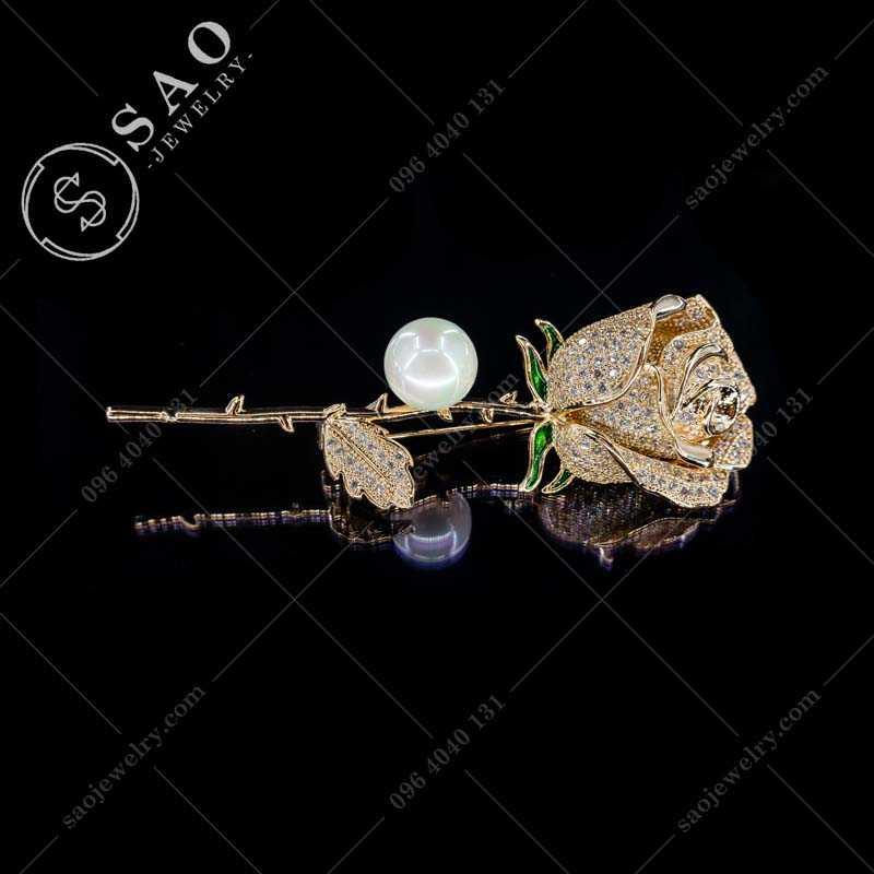 Bông hồng cài áo mạ vàng cao cấp CA356V
