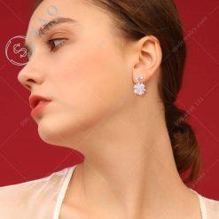 Bông tai bạc 925 đính đá hàn quốc dễ thương
