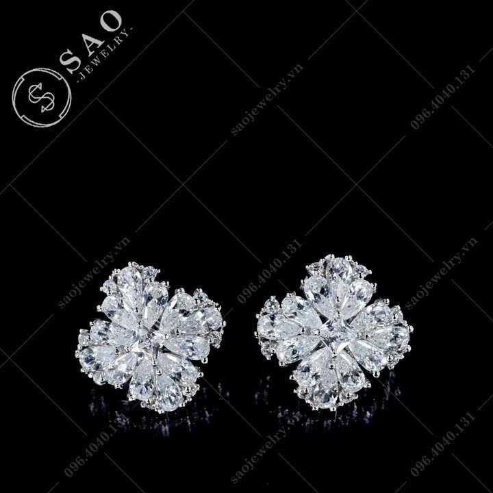 Bông tai bạc 925 hoa đá zircon Sang Trọng BT110