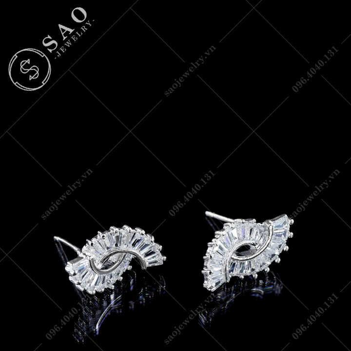Bông tai bạc 925 ruy băng đính pha lê sang trọng BT114