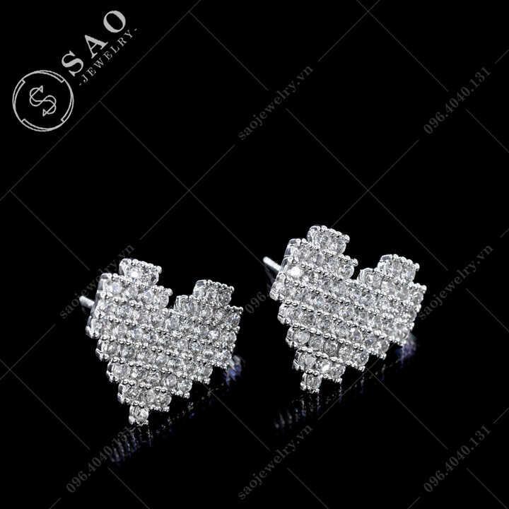 Bông tai bạc 925 trái tim đính đá sang trọng BT116