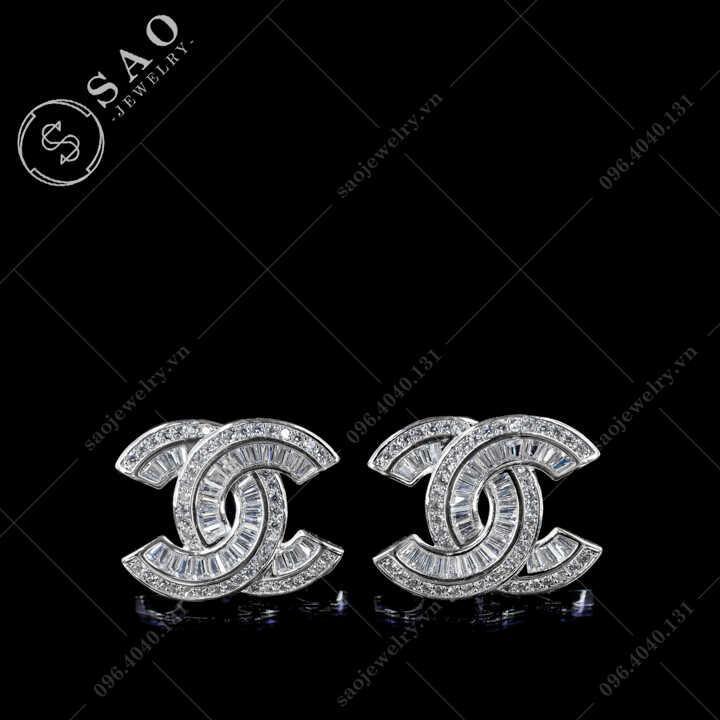 Bông tai Chanel bạc 925 đính đá sang trọng BT117