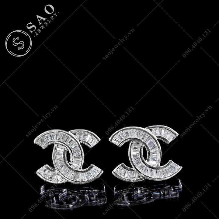 Bông tai Chanel bạc 925 đính pha lê Cao Cấp BT111