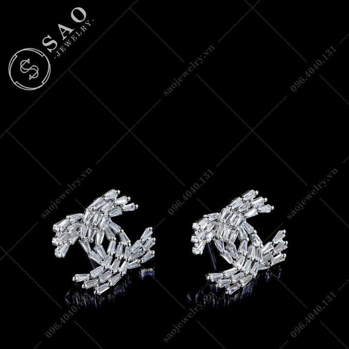 Bông tai Chanel bạc 925 đính pha lê hàn quốc SAO - BT115