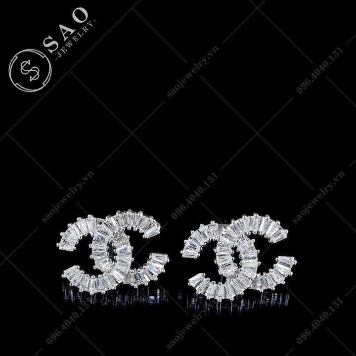 Bông tai Chanel bạc 925 đính pha lê sang trọng BT112