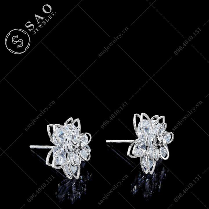 Bông tai hoa mai bạc 925 đính đá cao cấp BT119