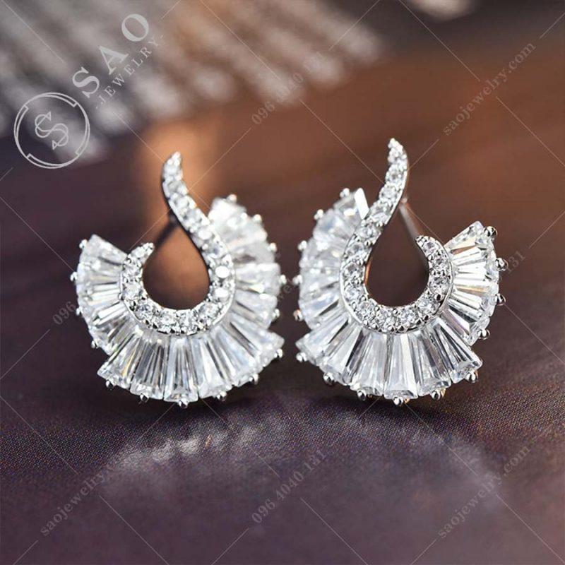 Bông tai bạc 925 pha lê hàn quốc