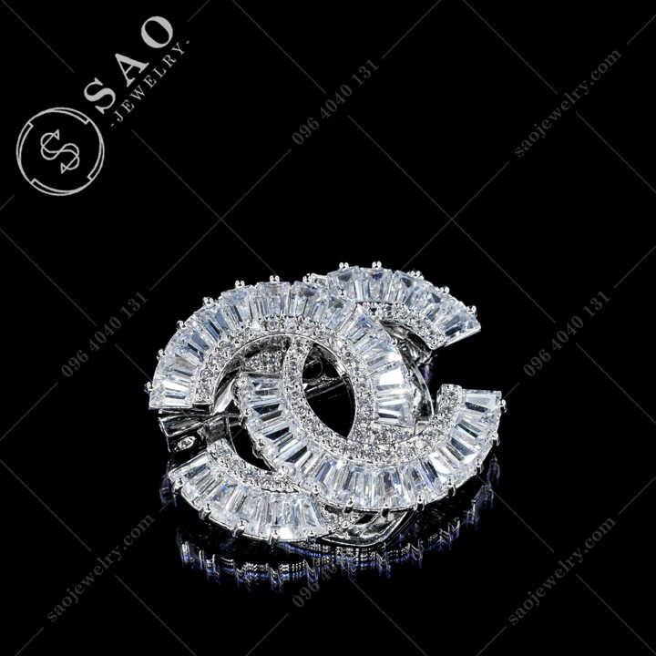 Cài Áo Chanel Đính Pha Lê Thanh Lịch CA483T