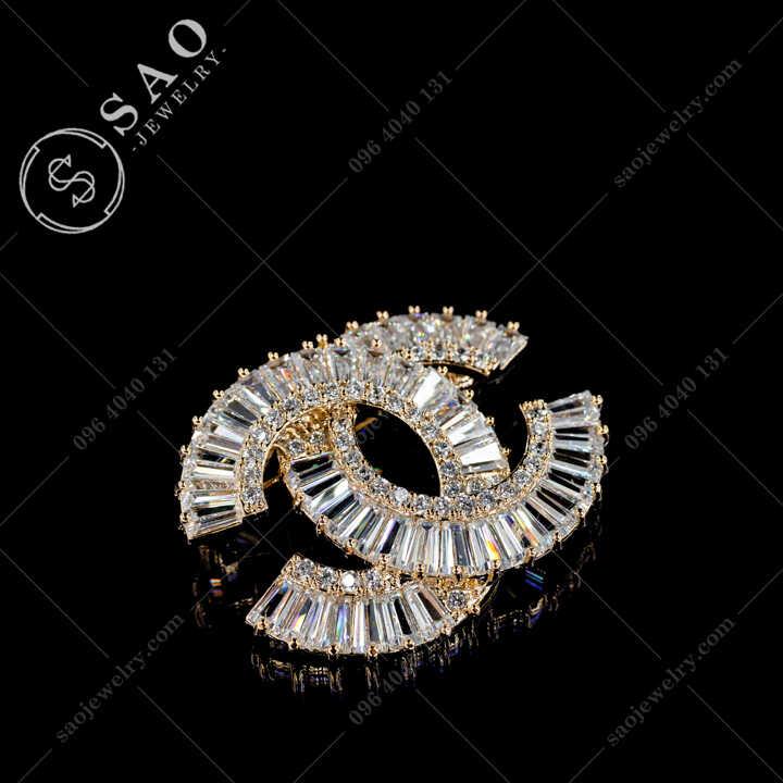 Cài Áo Chanel Đính Pha Lê Thanh Lịch CA483V