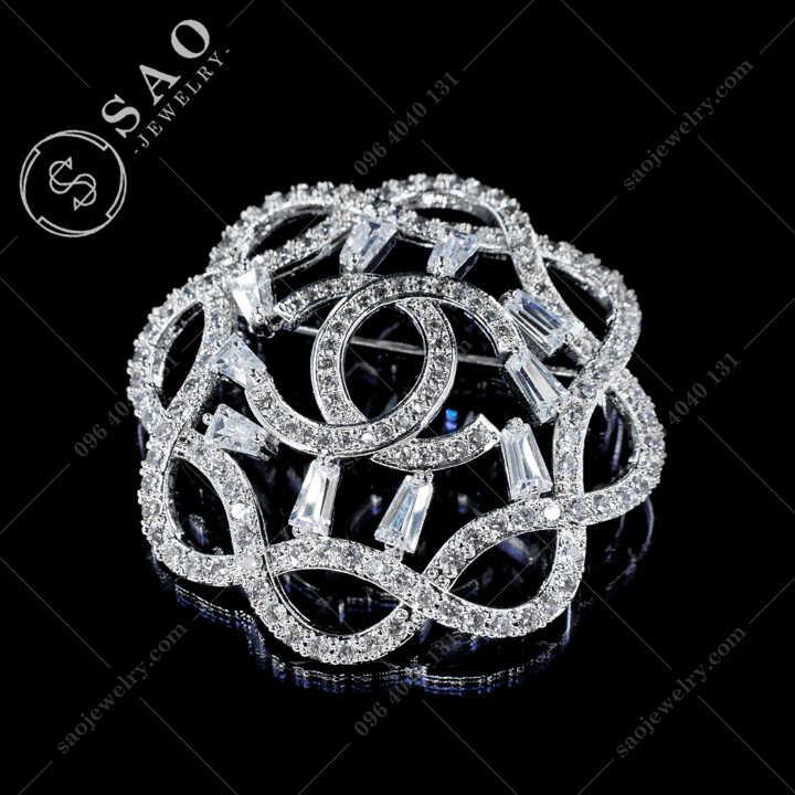 Cài Áo Chanel Tròn Đính Pha Lê Cao Cấp CA486T