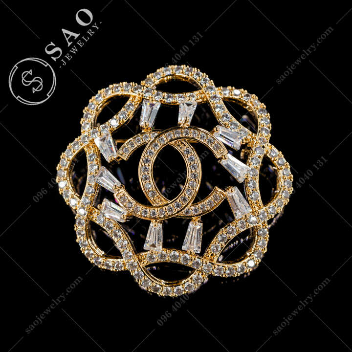 Cài Áo Chanel Tròn Đính Pha Lê Cao Cấp CA486V
