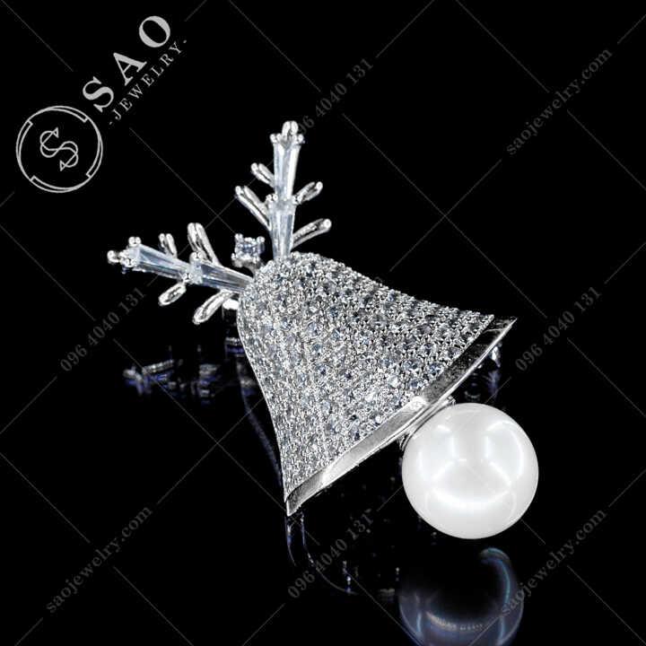 Cài Áo Chuông Noel Đính Pha Lê Ngọc Trai Sang Trọng CA497
