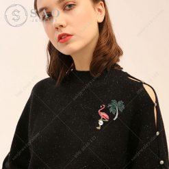 Cài áo đẹp cò hồng đính hạt ngọc CA15 - Sao Jewelry