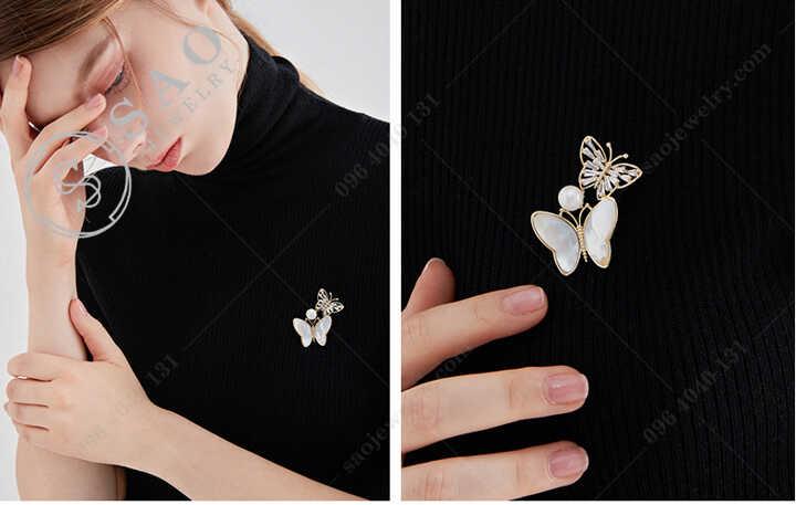 Cài áo đôi bướm đính hạt ngọc Cao Cấp - CA684