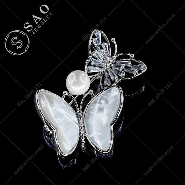 Cài áo đôi bướm đính hạt ngọc Cao Cấp - CA684T